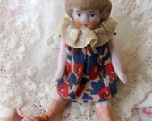 Antique German Dollhouse Bisque Little Sister Flapper Doll in Original Floral Print Dress