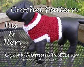 Immediate Download - PDF Crochet Pattern - His and Hers Cheerleader Dog Sweater and Dress
