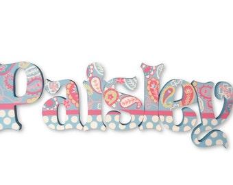 My Baby Sam Aqua Pixie Paisley Custom Hand Painted Nursery Letters Nursery Wall Hanging Letters Wood Nursery Letters  Nursery Wall Decor