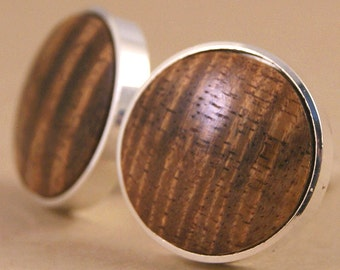 Silver Cufflinks - Hawaiian Koa Thin Bezel cuff links - Also available in Gunmetal!