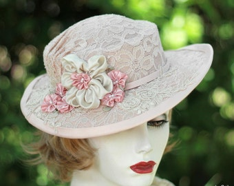 Vintage Style Boater Wedding Hats, Bridal Special Occasion Garden Tea Party in Pink Blush Lace, Summer