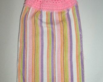 Spring Hanging Towel - Pastel Stripes Towel - Crochet Top Towel - Hanging Hand Towel - Hanging Kitchen Dish Towel - Plush Towel - Pink Towel