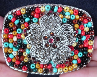 Silver Flower Belt Buckle with Swarovski Crystals - Turquoise Red Black Brown Southwestern Colors - Rectangle - Women's Gift Idea