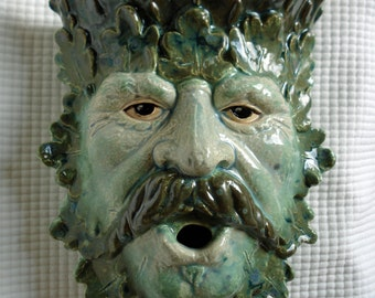 Ceramic Green Man wall sconce Moss Creek