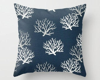 Coral Pillow Cover Navy Pillow Nautical Pillow Throw Pillow Accent Pillow Size Choice