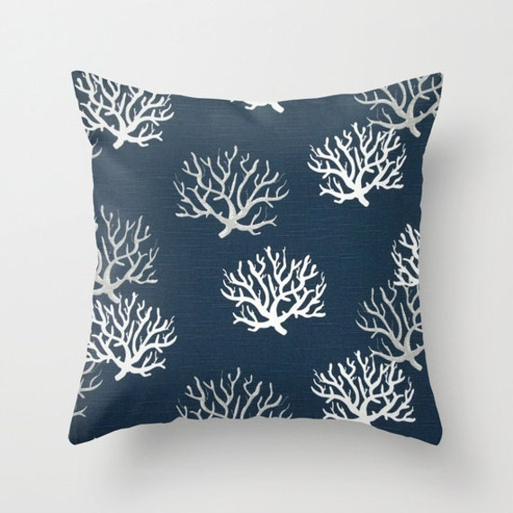 Coral Pillow Cover Navy Pillow Nautical Pillow Throw Pillow