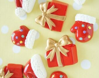 6 pcs Christmas Cabochon Set (Santa hat/glove/present) DR452