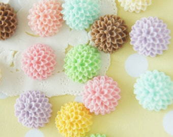 SALE 16 pcs Matte Finished Pastel Color Dahlia  Cabochon (15mm)  FL394 (((LAST)))