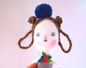 Linen doll hand embroidered