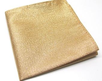Pocket Square Lamé Gold Metallic Hankie