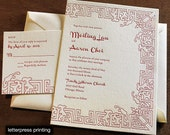 Meiling Letterpress or Digital Wedding Invitations - Set of 100