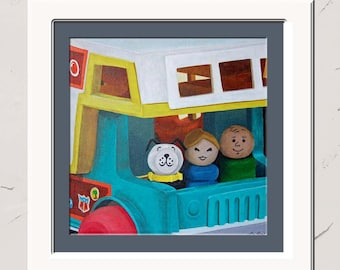 My Best Friends Were Campers, 8x8 Print, Acrylic, Wall Art, Fisher Price Little People Camper