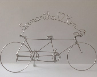 Tandem Bicycle Wedding Cake Topper Personalized with Bride and Groom's Names: TANDEM LOVE