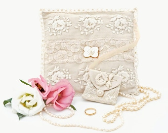 Handmade Ring Bearer Pillow,Cream Silk Dupioni,Heirloom Ring Pillow/ Cushion ,Early 20th Cent Vintage Lace, Spring Wedding 15x15cm.