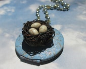 I am enough..   rustic engraved birdnest Quote locket necklace soft blue springnest locket something blue
