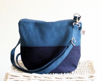 SALE - Daily Canvas Cross Body Bag, Teal Navy Messenger Bag, Two Tones, Small Bag, Travel Bag, Long crossbody strap, everyday bag
