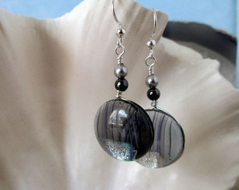 Gray Black Silver Dichroic Dangling Earrings - Translucent Fused Glass and Swarovski Elements Pearls