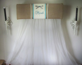 Princess BED Canopy TOPPER Embroidered Personalized Monogram Burlap Cream