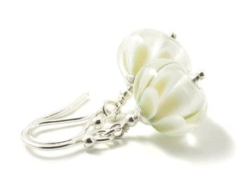 White Earrings | White Flower Earrings | Lampwork Glass Petal Earrings | Sterling Silver | Snowdrop Earrings