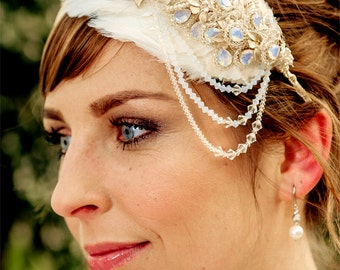 WEDDING headpiece Bridal headband, ADELIA with pearls crystals and 16K gold, SALE