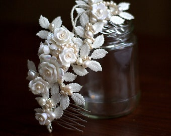 SALE - WEDDING  Bridal hair comb, ROWAN with pearls and vintage rose beads