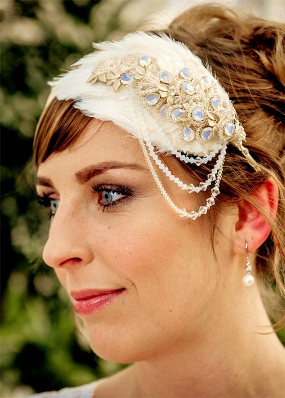 WEDDING headpiece Bridal headband, ADELIA with pearls crystals and 16K gold, made to order