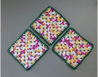 Cotton Crochet Dishcloths Washcloths Set of Three