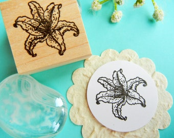 Lily Flower Rubber Stamp  - Handmade by BlossomStamps