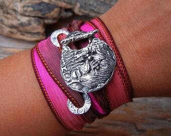 Bee Jewelry, Honey Bee Jewelry, Bee Bracelet, Bumble Bee STERLING SILVER Silk Wrap Bracelet