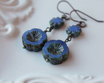 Periwinkle Blue Pansy Earrings Boho Chic Bohemian Jewelry Rustic Deep Cornflower Blue Casual Blue Flower Earring