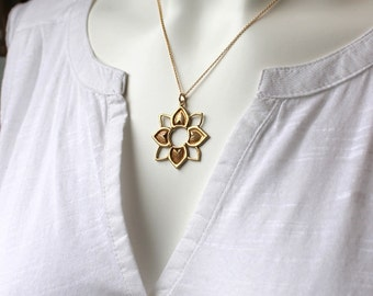Sunflower Necklace / Gold Filled Chain / Bronze Flower Pendant / Farmhouse Wedding / Bohemian Necklace / Boho Chic Jewelry / Rustic Wedding