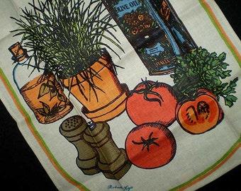 Vintage 70s Fallani & Cohn Linen Towel Tomato Salad