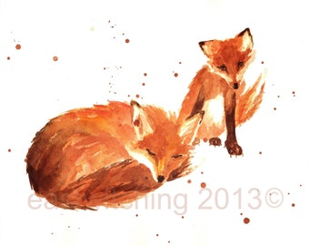 WATERCOLOR Fox Print, kids wall art, 8x10 print, childrens room, cute fox print