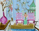 Bamboo Chippendale Chair Print Pagoda Furniture Chinoiserie Interior Painting Pastel Colors FINE ART PRINT