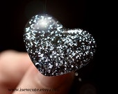 London Fog Grey - Glitter Ring - Resin Heart Ring - Goes With Everything Jewelry - Handmade Resin Jewelry by isewcute