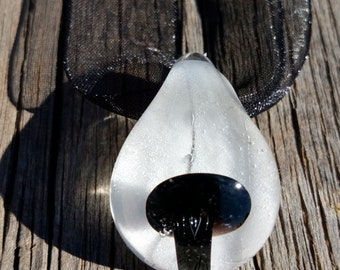 Glass Mushroom Pendant With Jet Black Shroom and White Background