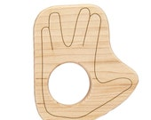 Wood Toy Vulcan Salute Teether, personalized wooden Star Trek baby toy