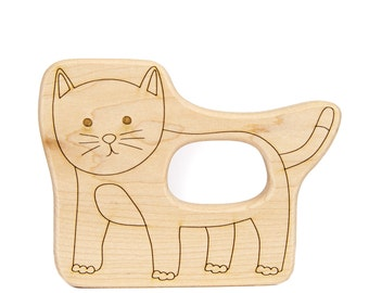 Cat Wood Toy Teether - Wooden Teether - Baby Teether - Handmade Wooden Toy - Cat Toy - Wooden Cat Toy - Cat Teether - Wood Toy -TE45