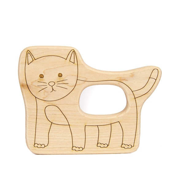 Cat Wood Toy Teether