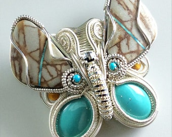 Bolder Turquoise Butterfly Pendant - N-0242