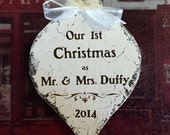 Our 1st CHRISTMAS ORNAMENT, Mr. and Mrs. Christmas Ornament, Personalized Mr & Mrs Christmas Ornament, Shabby Chic Ornament, 3 1/4 x 5