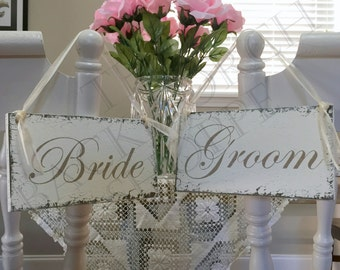 Wedding Chair Signs, Wedding Chair Hangers, Wedding Signs, Bride and Groom Signs, Mr. and Mrs. Chair Signs, 9 x 5