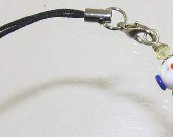 Blue and Gold Snowman SRA Lampwork Bead Pendant Zipper Purse Pull