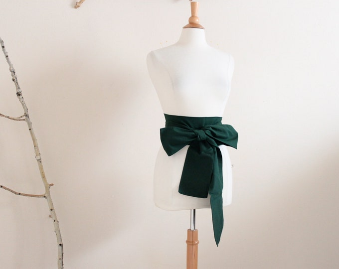 eco chic dark green cotton obi ready to ship / green cotton obi for wedding or every day wear
