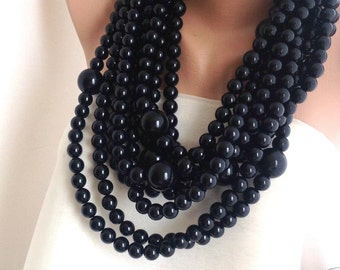 Chunky Black Pearl Necklace Chunky Necklace Bold Wedding Pearl Bridal Pearl Necklace