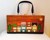 Vintage Handbag Collection, Retro,  Wooden Purse with Plastic Handles,  Handpainted, Naples, Florida