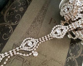 "12"" Crystal rhinestone chain trim, rose gold trim cake decoration rhinestone trim, cup-chain trim, DIY wedding sash, headband"