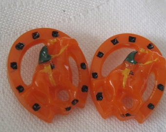 Set of 2 VINTAGE Orange Horse & Rider with Horseshoe Plastic BUTTONS