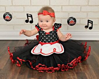 Retro Polka Dot tutu dress apron dress with RED trim ROCKABILLY I Love Lucy girls toddler infant fifties style dress 50s
