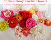 Flower Crochet PATTERNS - Susan's 14 New Crochet Flower Patterns - Instant Download